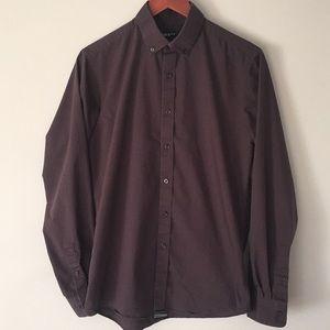 Bar lll Slim Fit Men's Dark Brown Dress Shirt Sz M
